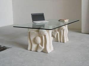 Archivio, Sofa table, stone base, for office waiting room