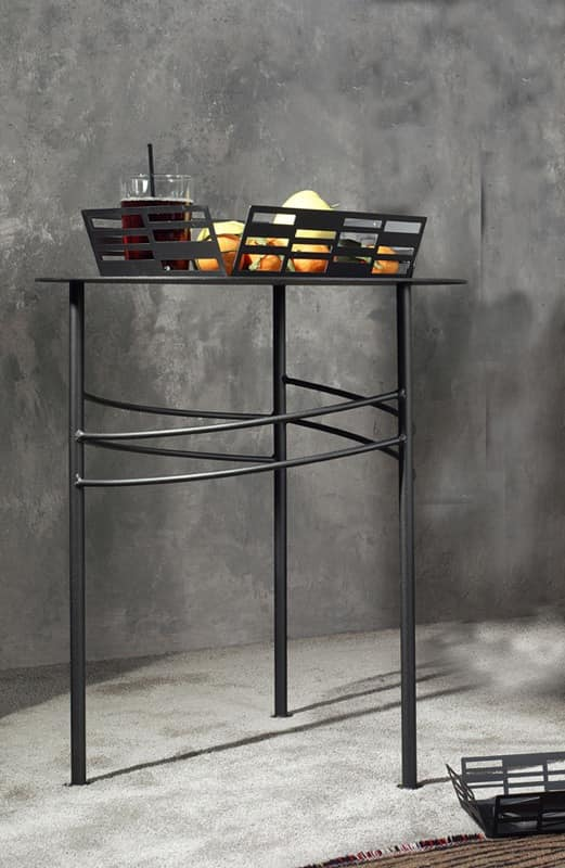 Ariel side table, Small linear metal table for waiting room and office