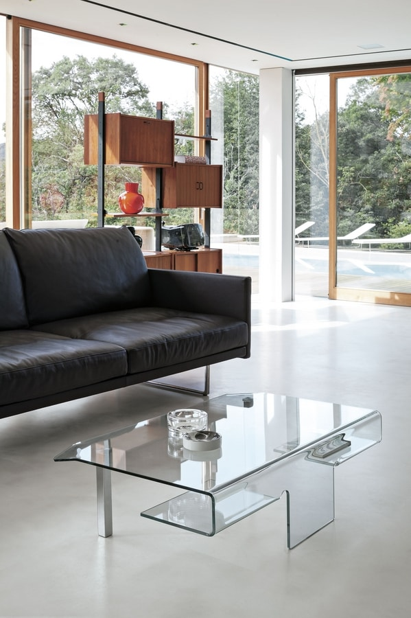 ARIES TLC07, Glass coffee table with chromed metal legs