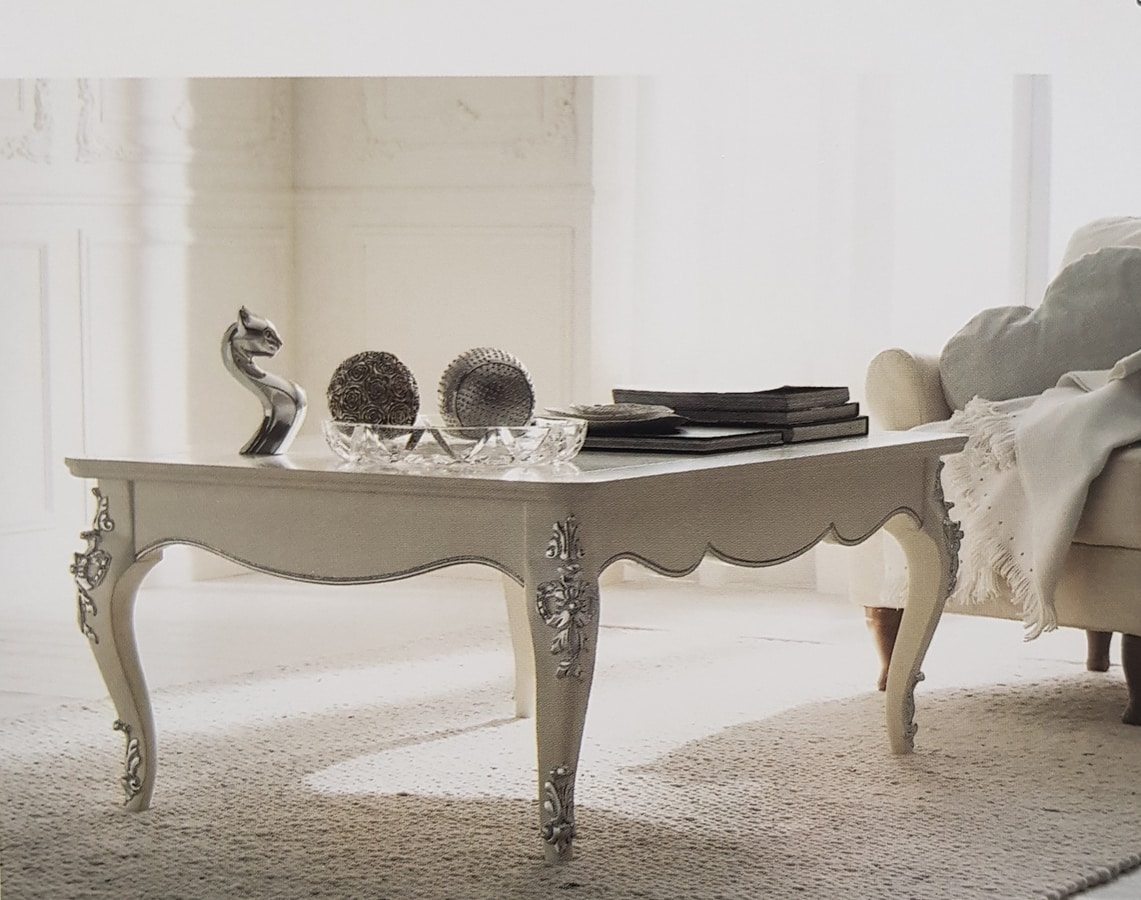 Art. 102T, White lacquered coffee table
