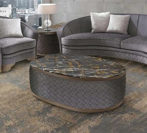 ART. 3311, Coffee table with quilted fabric structure