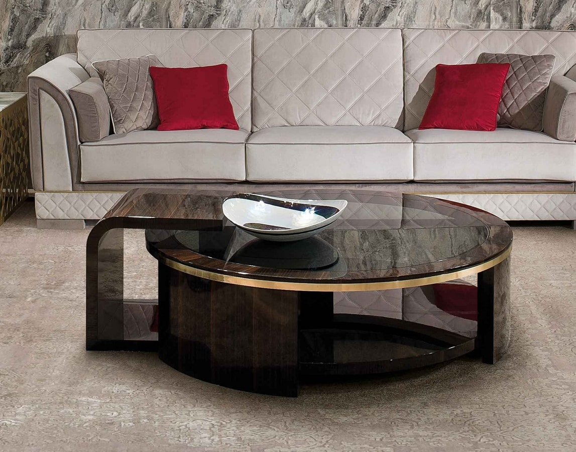 ART. 3337, Coffee table with smoked glass round top