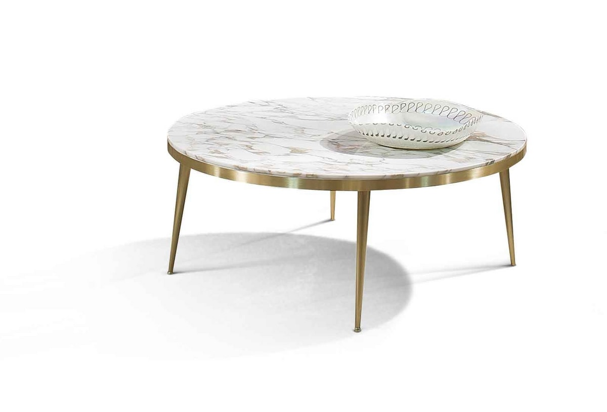 ART. 3341, Coffee table with round top in Calacatta marble