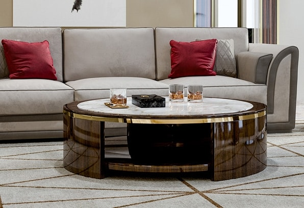 ART. 3364, Coffee table with round top in Calacatta marble