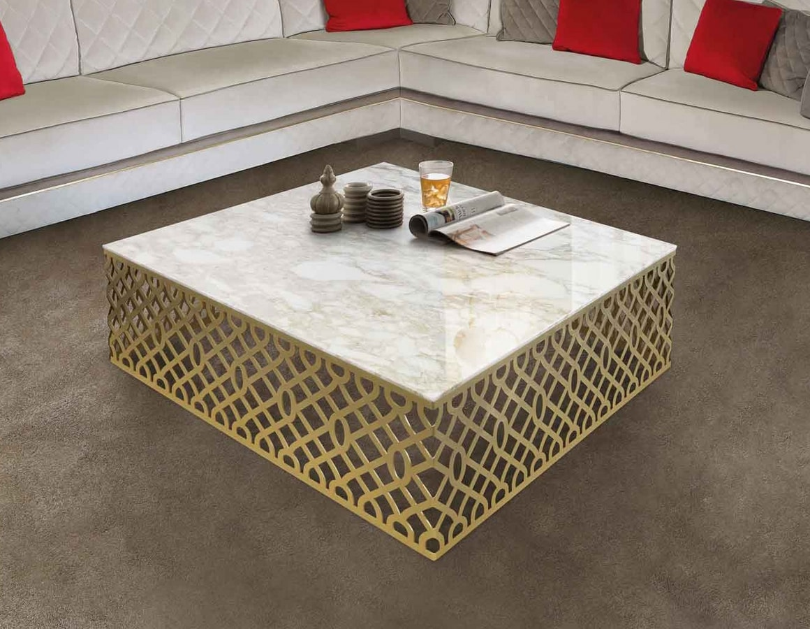ART. 3366, Coffee table with satin gold finish structure