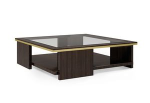 ART. 3367, Square coffee table with smoked glass top
