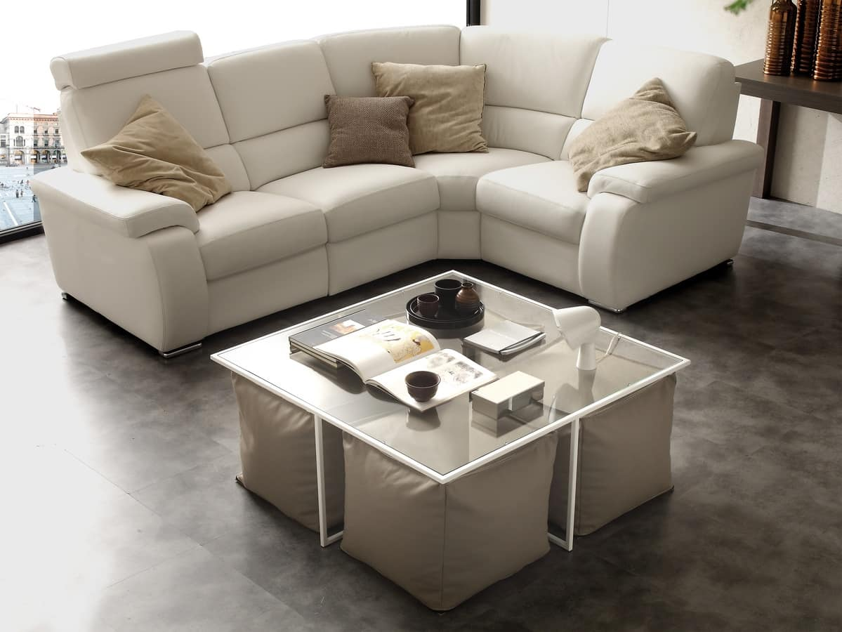 Art. 790 Magic Box, Coffee table with metal base with glass top