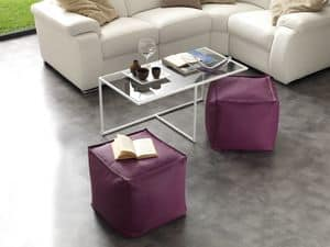 Art. 791 Magic Half, Glass coffee table with painted metal structure