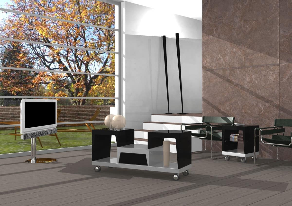 Asabi, Lacquered coffee table with wheels and drawer