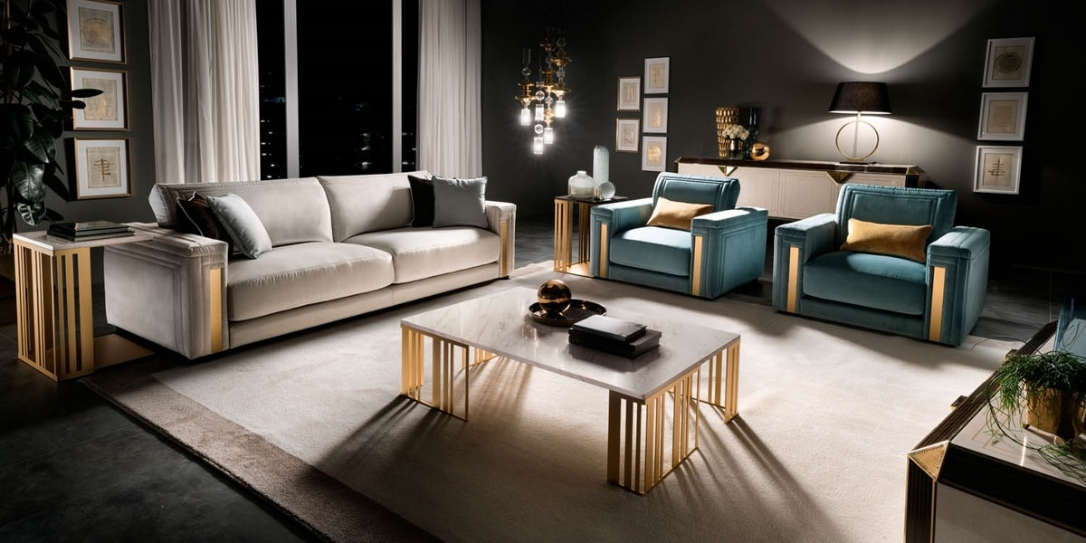 ATMOSFERA coffee table, Metal coffee table with marble top