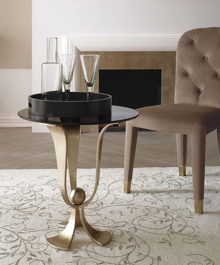 Calice small table, Coffee table in curved iron, hand-polished, glass top