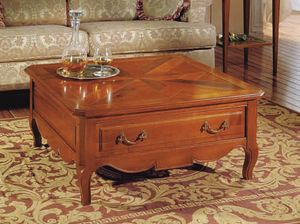 Canaletto coffee table, Square coffee table with drawer