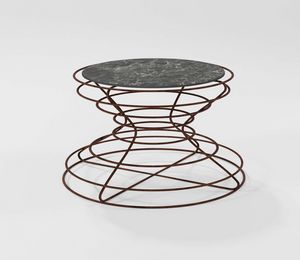Clessidra Grande, Coffee table with hand-worked iron base