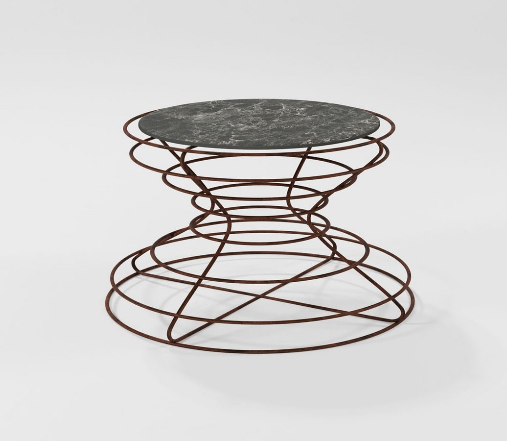 Clessidra grande, Coffee table woth hand-worked iron base
