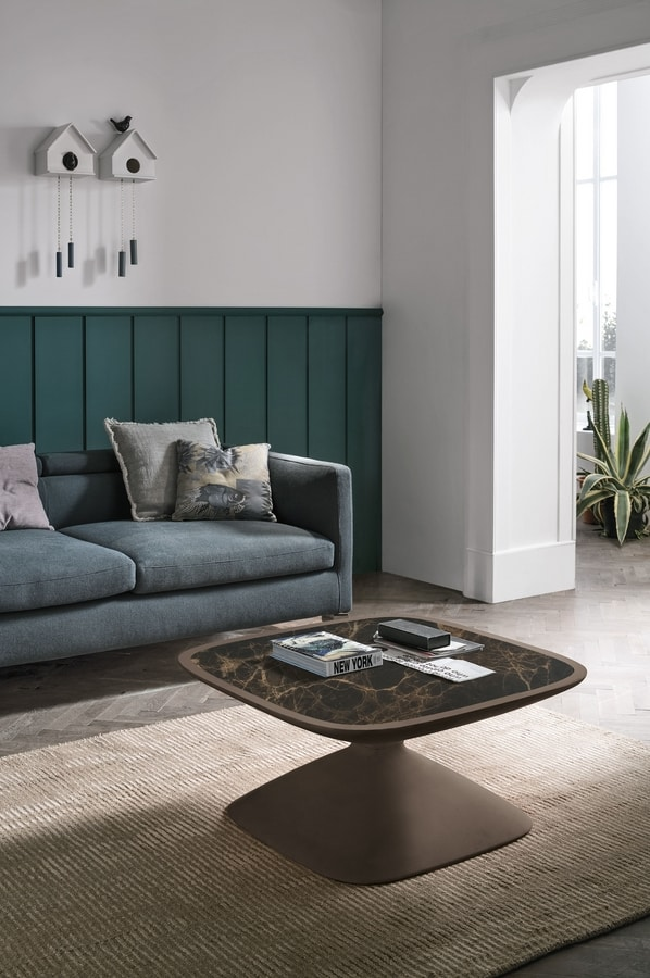 CLESSIDRA TL404, Hourglass-shaped coffee table with square top