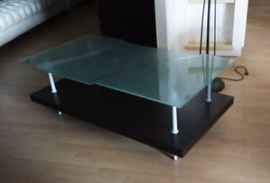 Coffee table 06, Rectangular coffee table with glass top