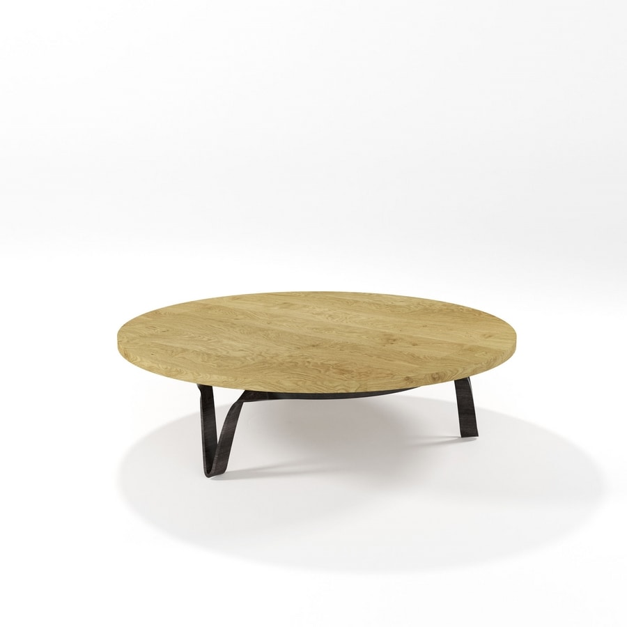 Compasso circolare basso, Coffee table with round top