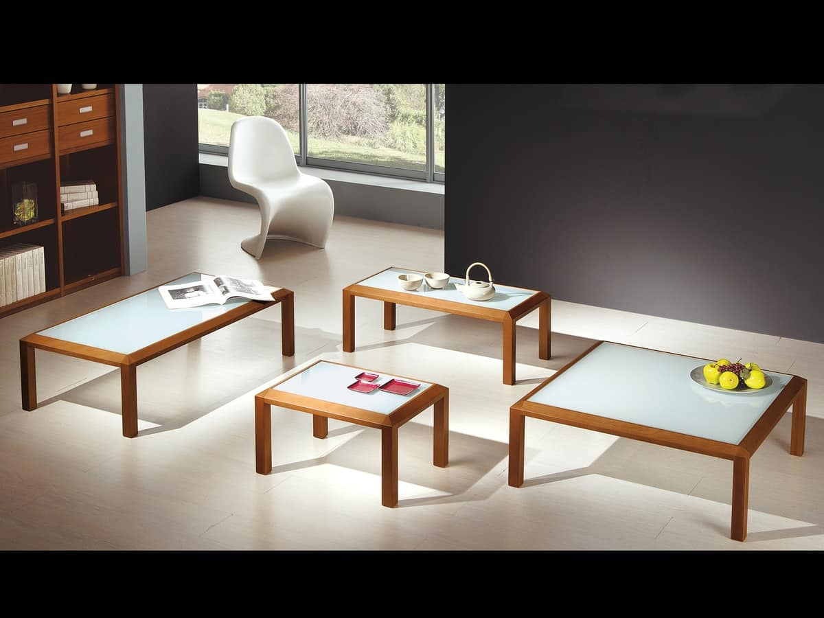 Complementi Tavolino Vetro 02, Coffee table in wood and glass, for center hall