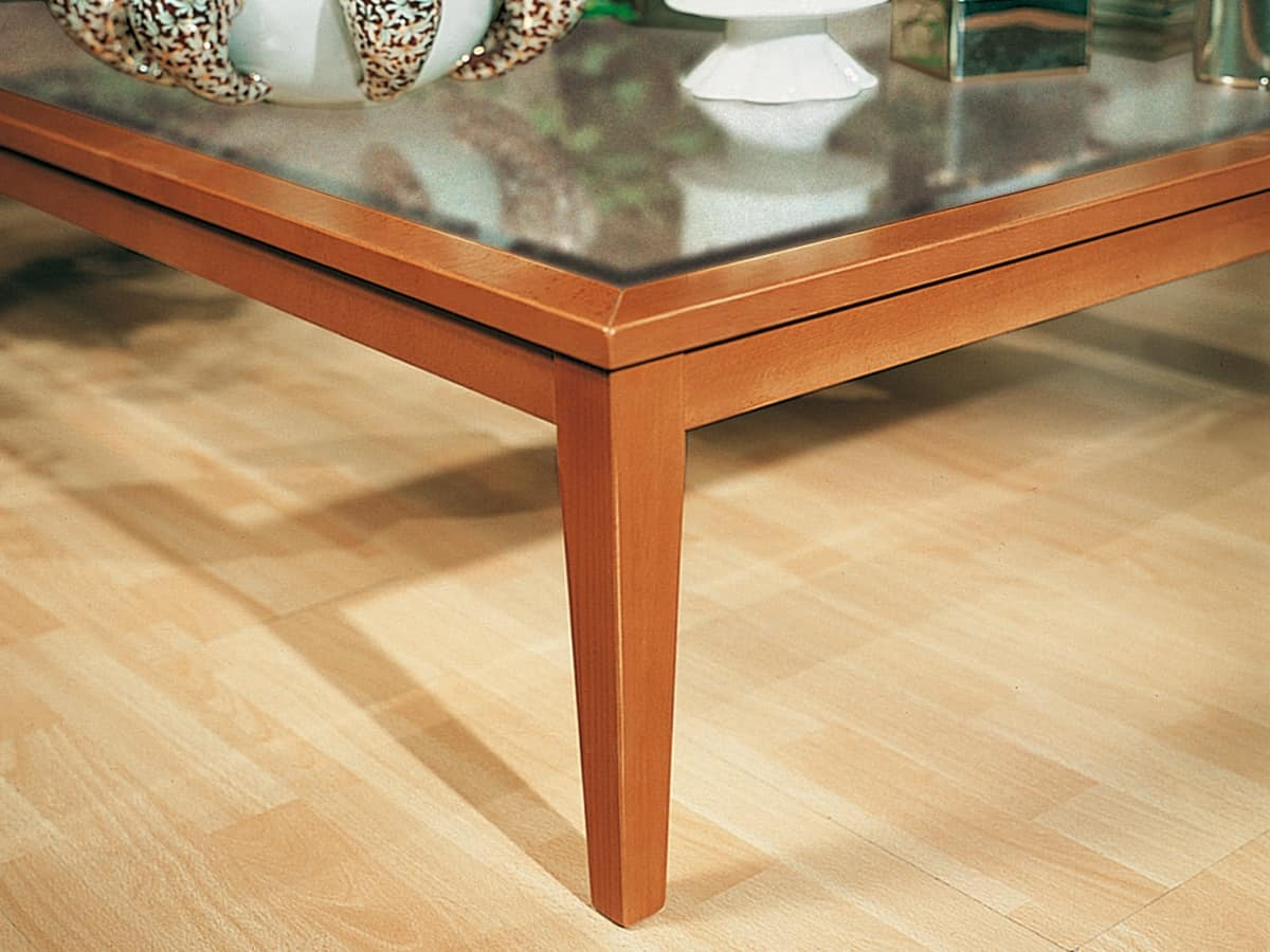 Complements Small Table Glass 07, Table with wooden base and clear glass top