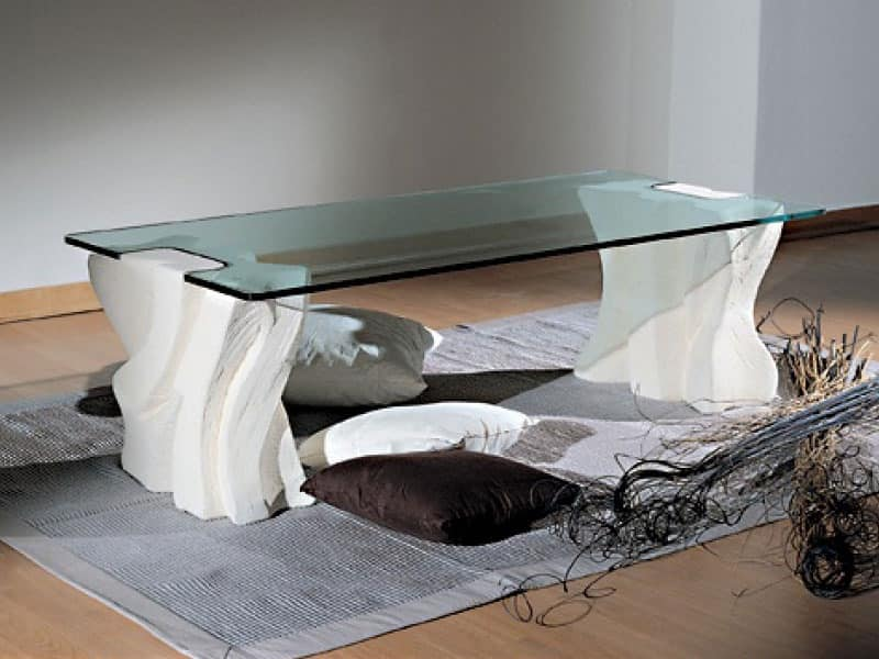 Contrasto Sagomato, Elegant coffee table for living rooms, stone and glass