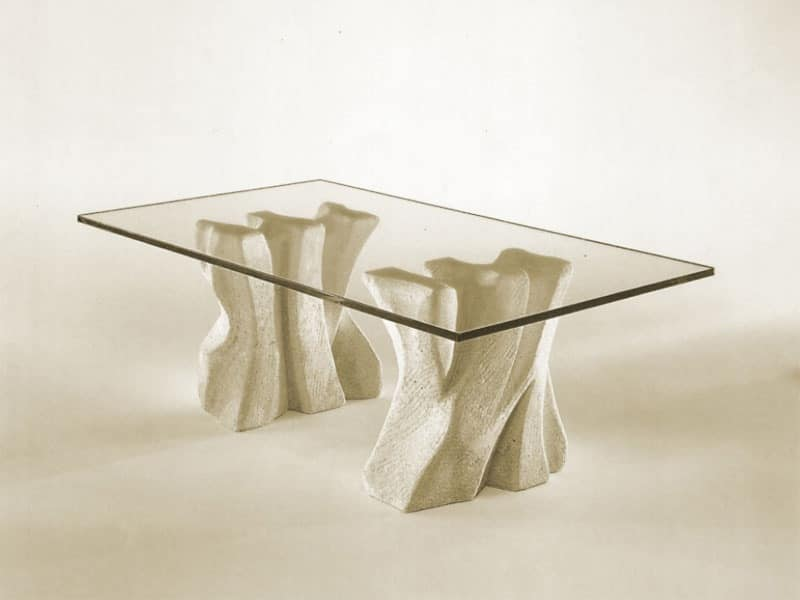 Contrasto, Stone coffee table for the home with top in glass