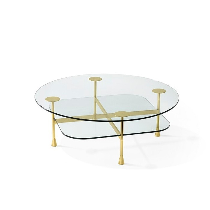 Da Vinci Coffee Tables, Small table in crystal and brass