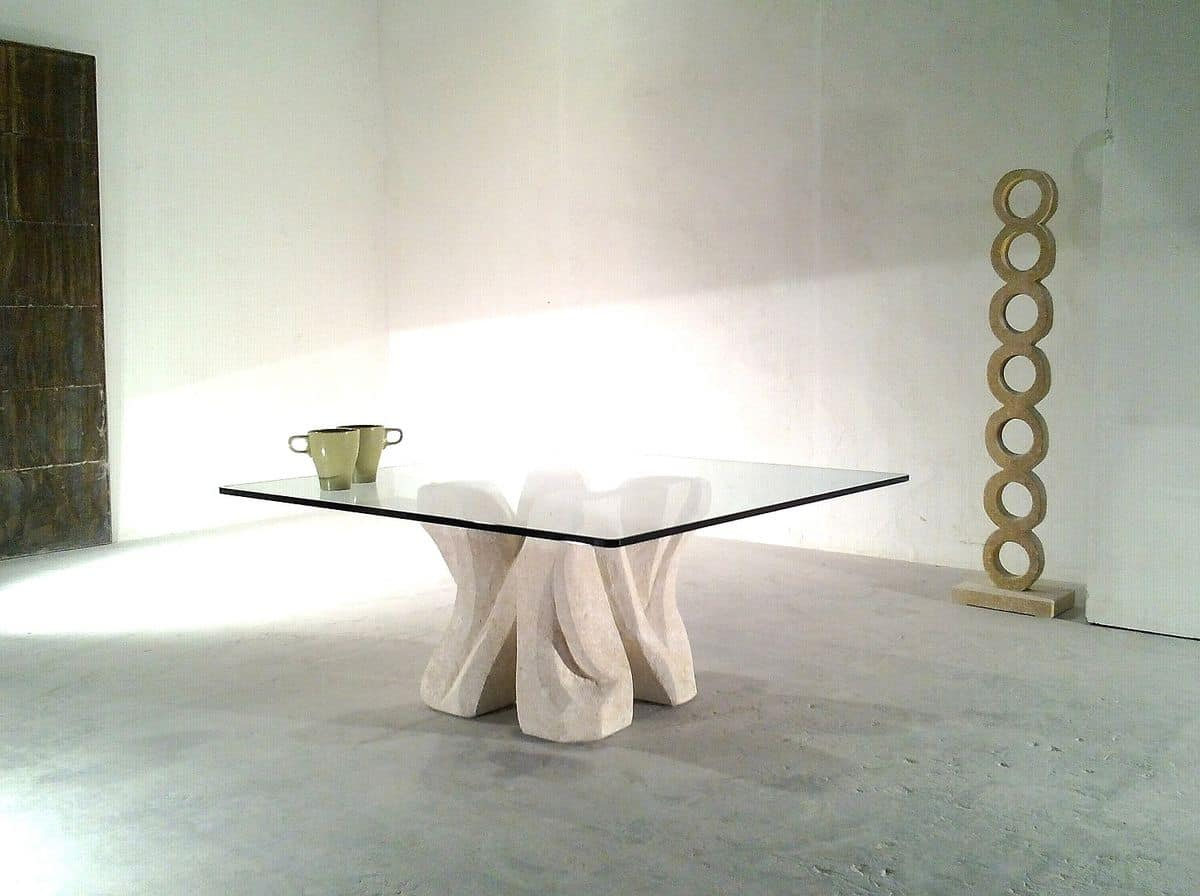 Dadà, Coffee table in carved stone, with glass top, for sitting room