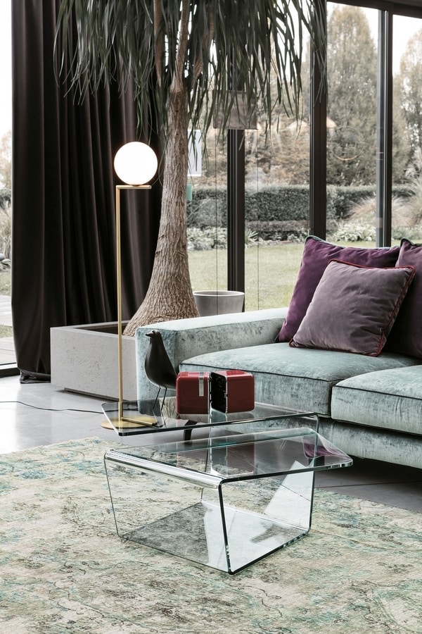 DOUBLE TLC22, Double-top glass coffee table