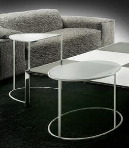 Eggs, Oval coffee table in steel and glass, for stylish lounges
