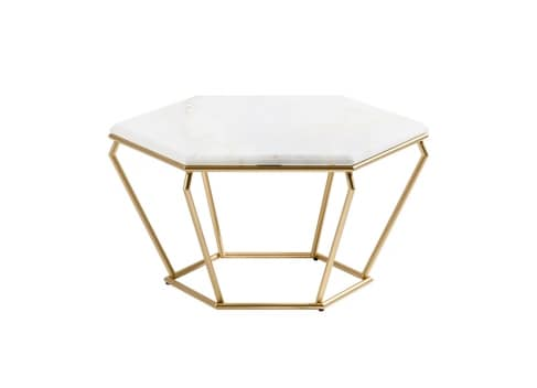 Coffee Table With Hexagonal Top In Marble IDFdesign - Hexagon marble coffee table