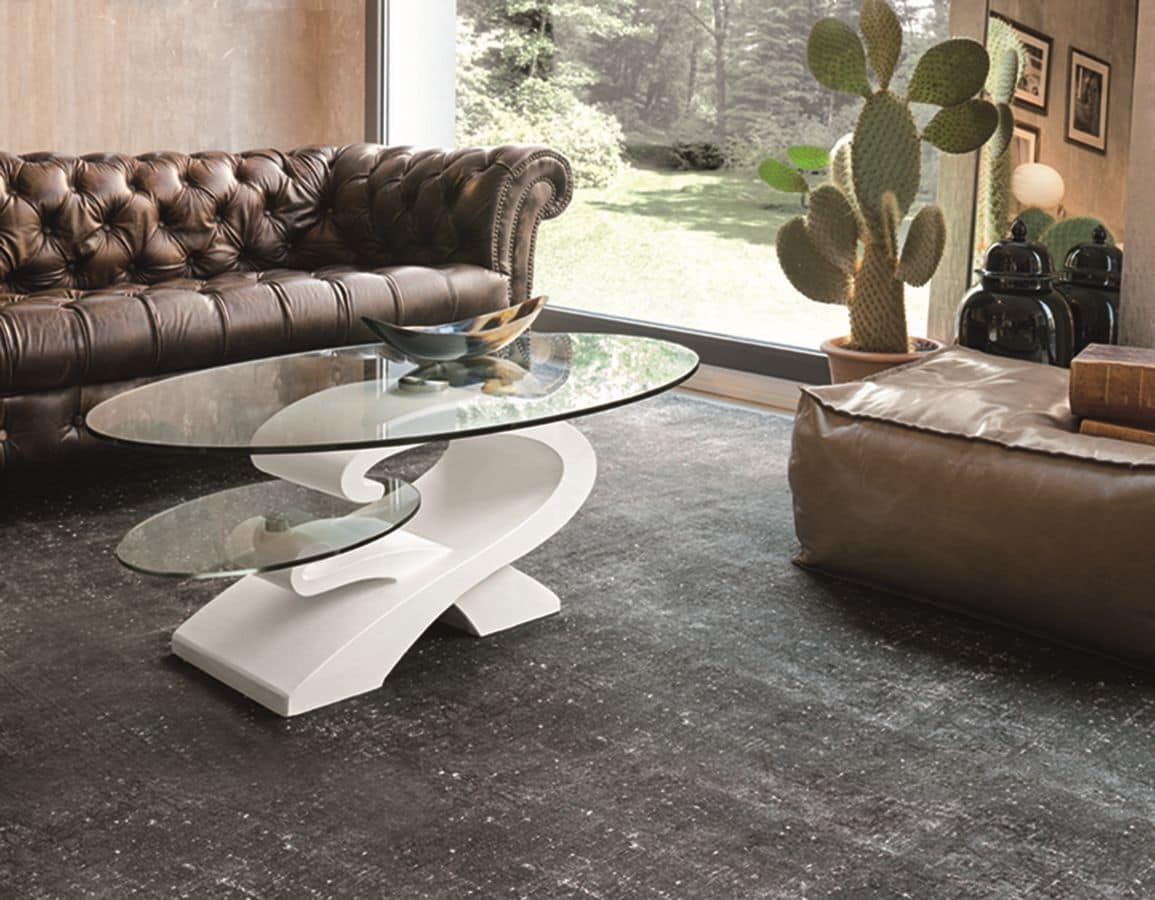 ENIGMA TL203, Coffee tables with glass top suited for modern living rooms