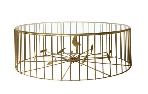 Gabbia, Metal coffee table with round glass top