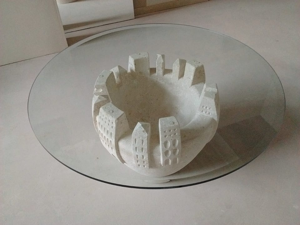 Gaia, Coffee table with carved and decorated stone