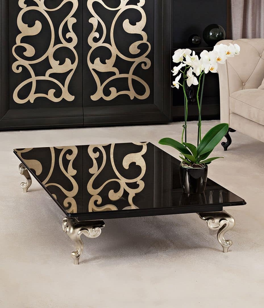 George coffee table, Table for center hall, glass top, aluminum feet