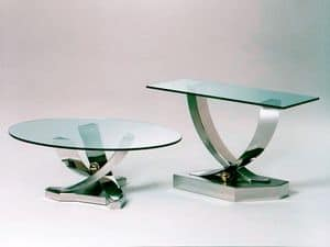 Giverny, Coffee table with base in stainless steel, tempered glass top