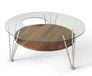 H-121, Coffee table with round glass top