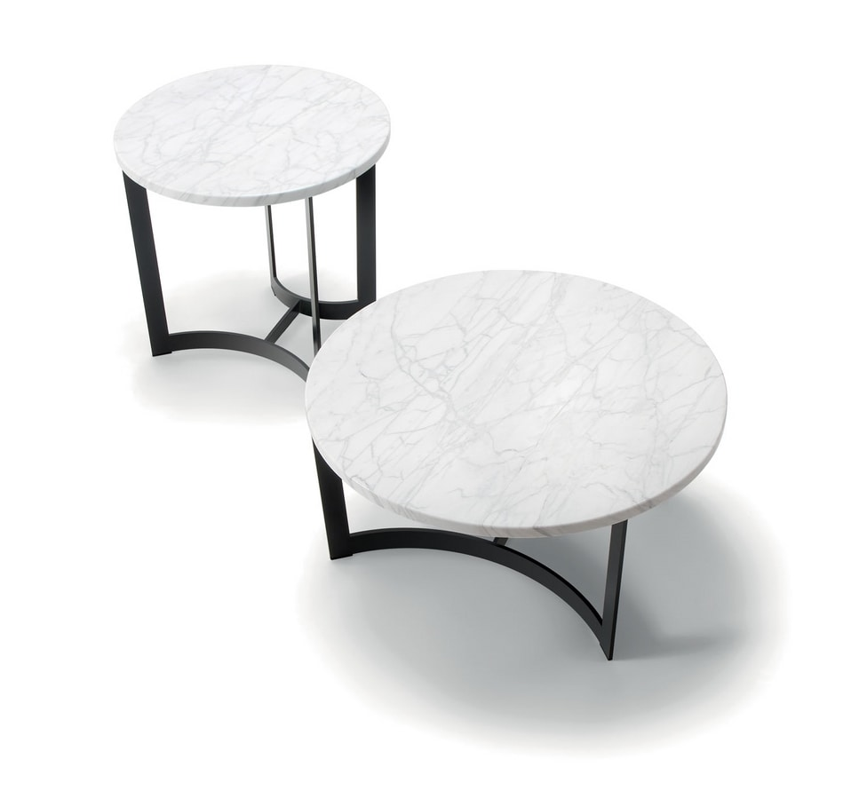 HUGO COFFEE TABLE 088 C H30 - 088 N H30, Round coffee table with metal base