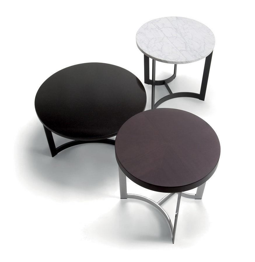 HUGO COFFEE TABLE 088 C H44 - 088 N H44, Round coffee tables with metal base