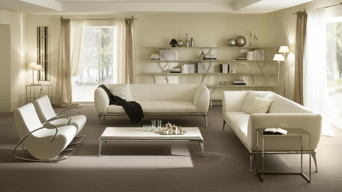 Iseo coffee table, Table for center hall, in aluminum and coated wood