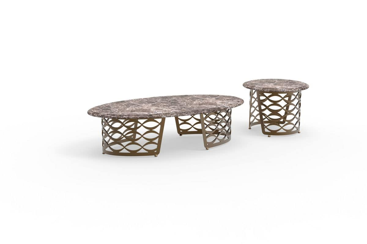 Isidoro coffee table, Coffee table with shaped top in stone, iron base for modern living rooms