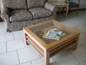 Jolly, Coffee table in wood and glass, retractable shelves, for sitting room
