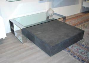 Kubik, Table for center hall, with wheels room, in laminate and slate
