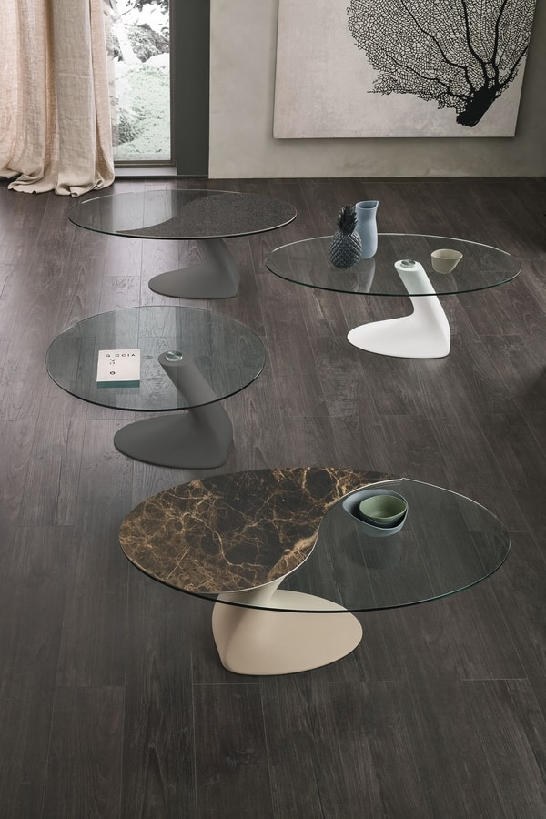 LEAF TL534, Coffee table with glass top