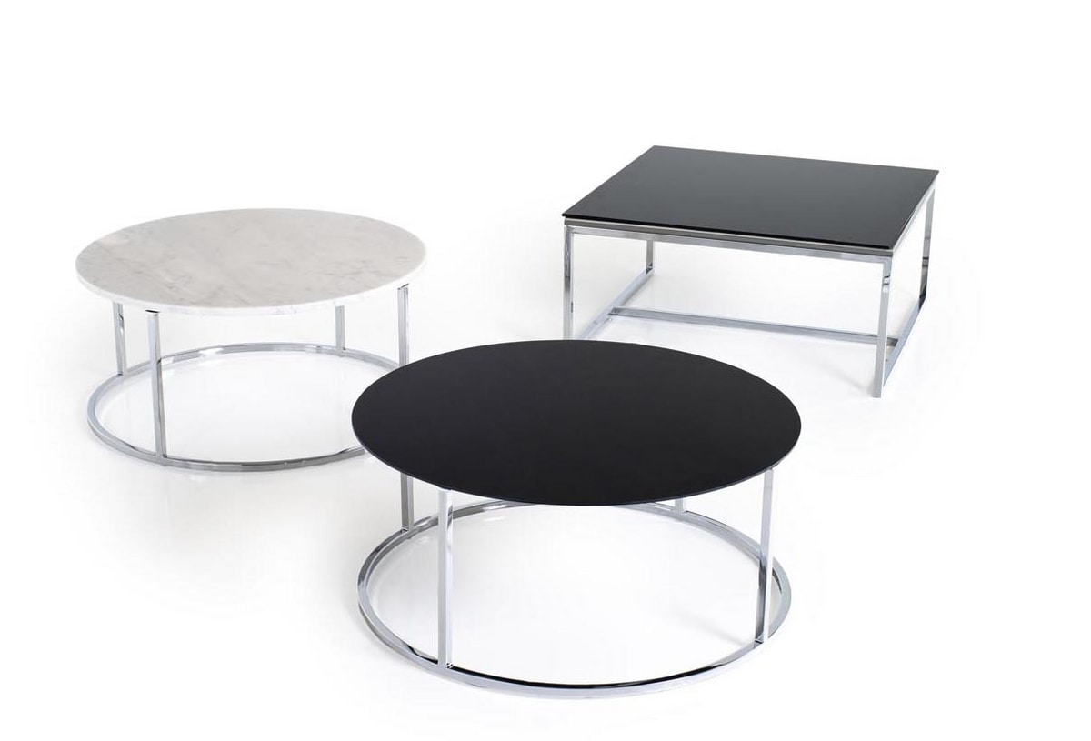 Line, Coffee tables with carrara marble and glass top