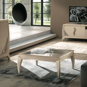 Luna LUNA5049, Square coffee table with glass top