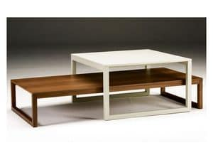 Razio, Coffee table with wooden structure, for living rooms