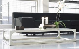 Master, Coffee table made of solid wood with top in glass