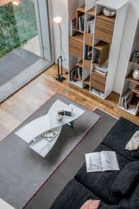 MISSOURI, Table for center hall, glass shelves, metal base