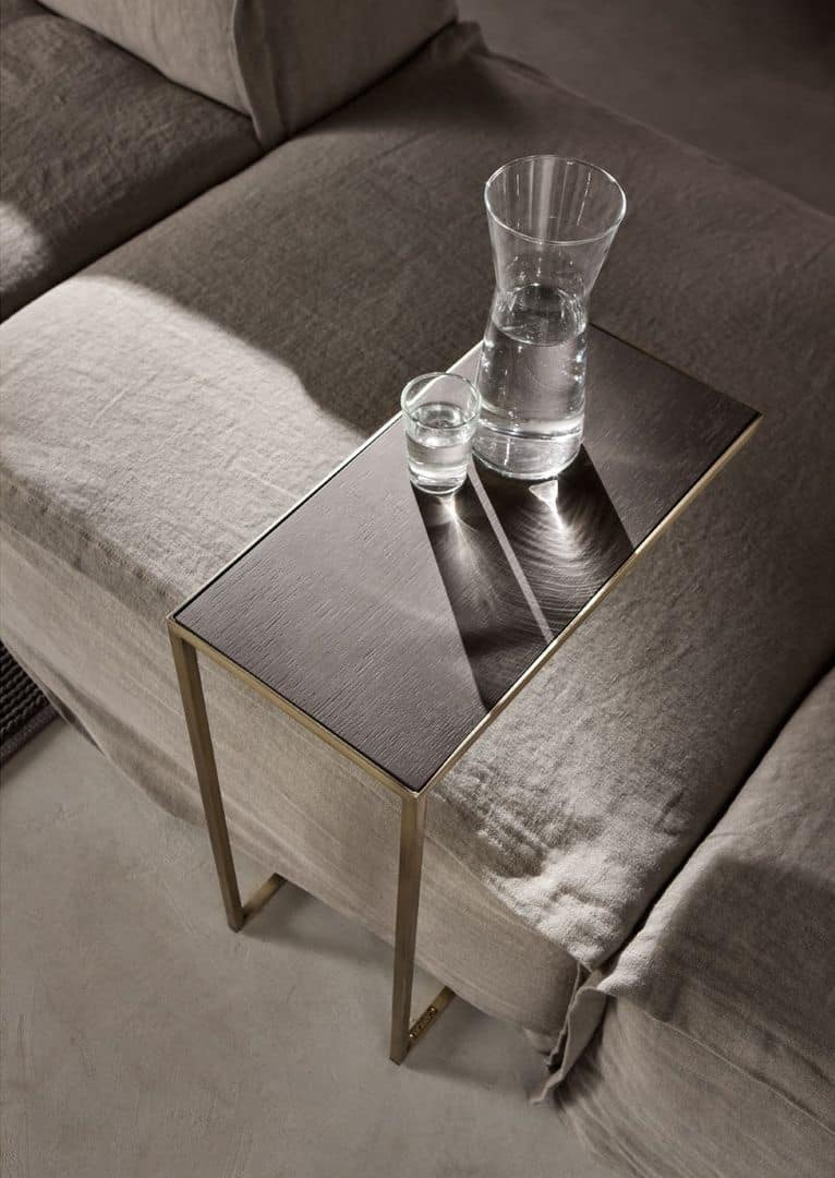 Narciso coffee table, Iron coffee table, mirror top