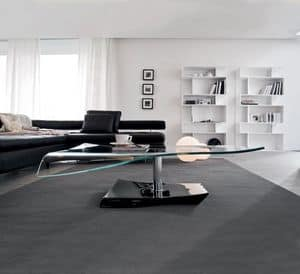 NAVILE, Coffee table in curved glass, marble and metal, for suite